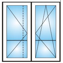 Porta finestra a 2 ante con traverso 5 camere
