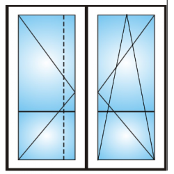 Porta finestra a 2 ante con traverso