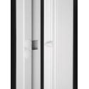 Grata porta finestra a due ante apribile con snodo